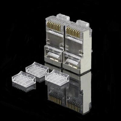 30PCS RJ45 Connector RJ45 Plug CAT6 Network Connector Gold Plated 8P8C Shielded