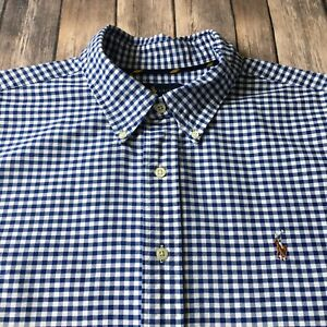 Ralph-Lauren-Oxford-Shirt-Mens-XXL-Classic-Button-Up-Long-Sleeve-Blue-Checked