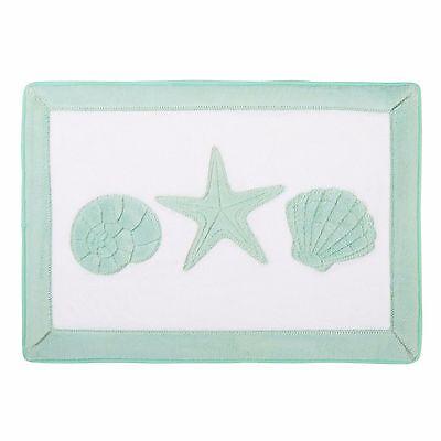 Sculpted Seashells /& Starfish Memory Foam Bath Mat 24x17 NWT
