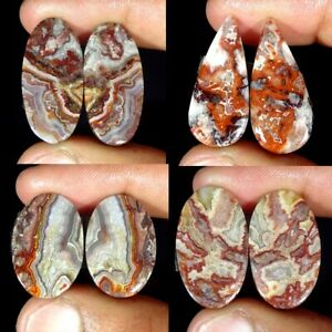 Natural-Crazy-Lace-Agate-Pair-Oval-Pear-Fancy-Loose-Gemstone-Collection