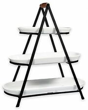 3-Tier Oblong Ceramic Server Catering Buffet Party Events Iron Stand White NEW
