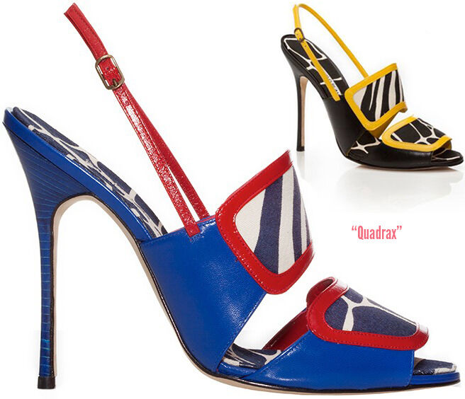 NEW MANOLO BLAHNIK Quadrax SANDALS HEELS BLUE RED WHITE WHITE WHITE LEATHER CANVAS 41 42 6e4bd7