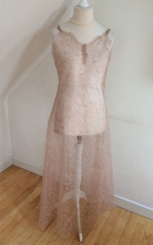 Vintage 30 S Silk Alençon lace Over dress robe 1930 S hand made French Couture 16 afficher le titre d'origine