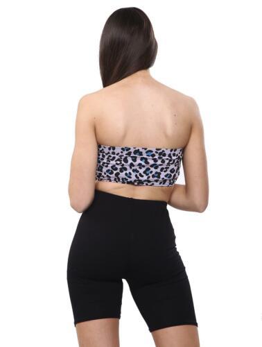 Womens Ladies Girls Strapless Boob Tube Printed Bandeau Crop Vest Summer Bra Top