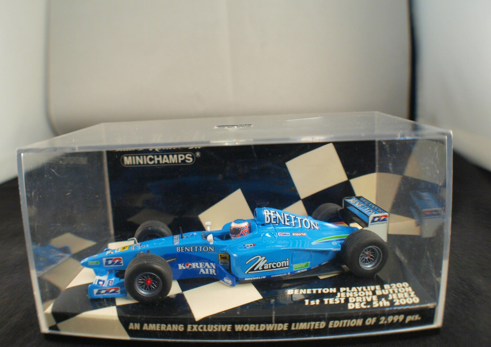 Minichamps Benetton Playlife B200 Button 1st test Jerez neuf 1 43 MIB rare