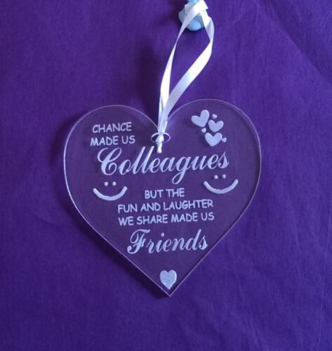 Chance Made Us Colleagues Work Friend Leaving Laser Engraved Heart Gift Clear