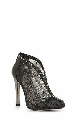 NEW BCBG MAX AZRIA BLACK WHIM LACE AND STUDS HIGH HEELS BOOTIE/F15A SIZE 7.5M