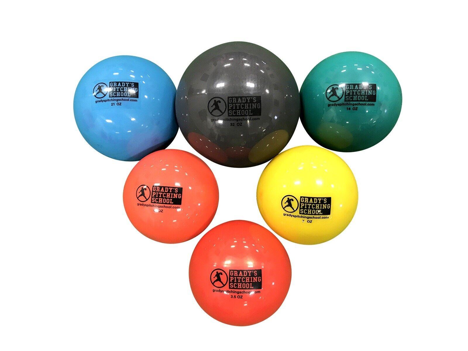 Plyo Weighted Baseball Set 3.5, 5, 7, 14, 21, 21, 21, 32oz-Increase Pitching Velocity 4cf228