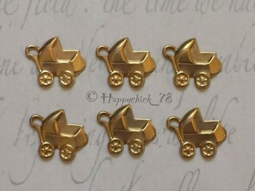 CARD EMBELLISHMENTS NEW BABY 6x PRAM BRASS GOLD CHARMS /& LOOP JEWELLERY MAKING