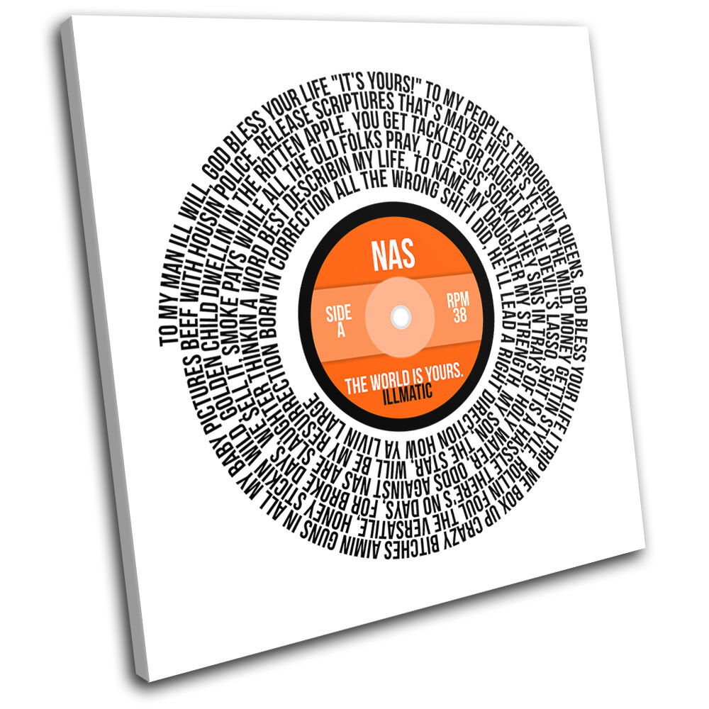 NAS The World Record Lyrics Vinyl Song Canvas Wall Art Picture Print