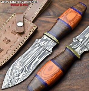 Rare!!! Beautiful Handmade Damascus Steel Dagger Knife | HARD WOOD
