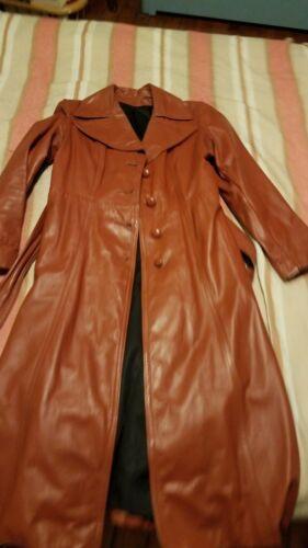 Vintage Womens 1970s Disco Orange Long Leather Jac