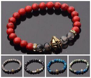 Men-Black-Lava-Stone-Gold-Silver-Spartan-Helmet-Bracelet-Beaded-Charm-Bracelets