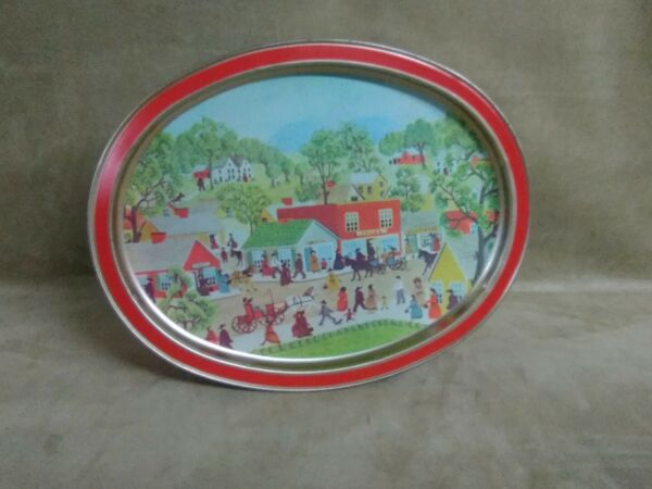 14.5x11.5' vintage oval Sunshine Biscuits Tin Main Street. Very good shape