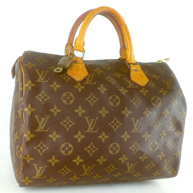 LOUIS VUITTON SPEEDY 30 Hand Bag Doctor Purse Monogram M41526 Brown w/ Padlock