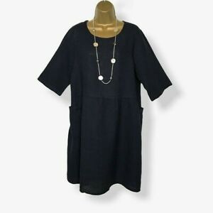 LINEN BALLOON DRESS Navy Blue Pockets Italian Lagenlook Womens UK Size 14 16 18