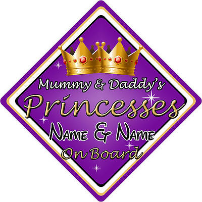 Personalised Child//Baby On Board Car Sign ~ Daddys Princess On Board ~ Purple