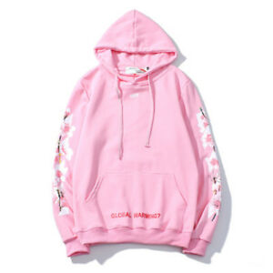 OFF-WHITE-OW-Cherry-Blossom-Supreme-Men-039-s-and-Women-039-s-Round-Neck-Hoodies