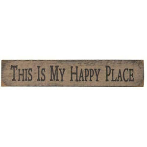"""18/"""" L Stenciled Wood Sign Block /""""This is my Happy Place/"""""""