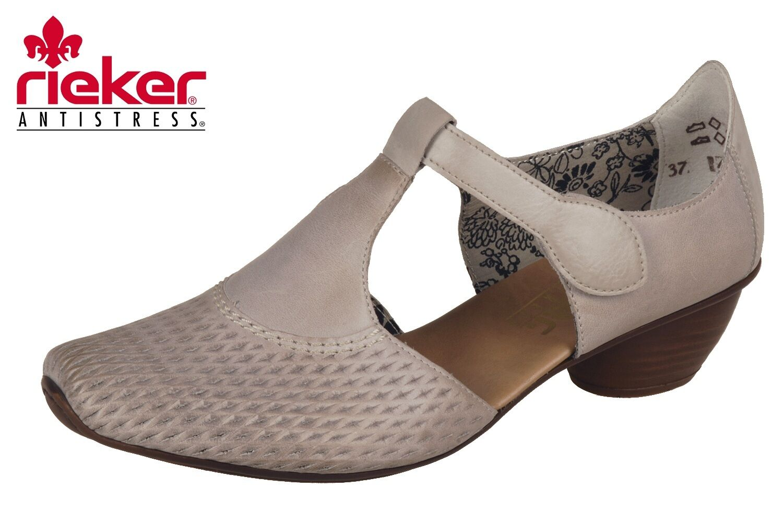 Rieker Damen Pumps Beige Leder Spangenpumps Schuhe 43736-40 Mary Jane NEU