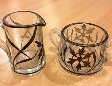 VINTAGE PAINTED GLASS SUGAR/CREAMER SET ANTIQUE