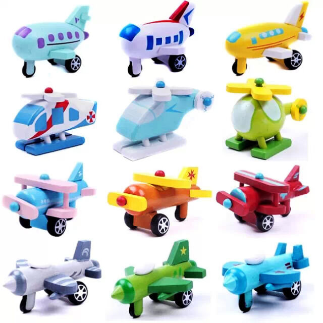 12pc x New Baby Kids Toys  Hand Made Wooden Wood Mini Airplane1321
