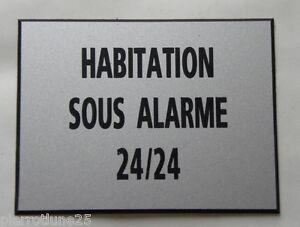 Efficace Plaque Gravée Habitation Sous Alarme 24/24 Ft 115 X 150 Mm Signaletique
