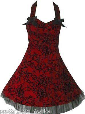 PRETTY KITTY ROCKABILLY PROM RED TATTOO 50S STARS DRESS 8-16