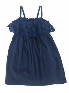e8e4403a0ca Baby Gap 12-18 Months Navy Blue Eyelet Lace Trim Long Maxi Dress ...