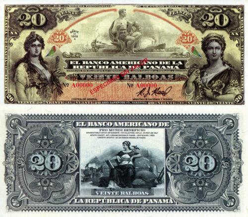 PANAMA 20 Balboas Fun-Fantasy ART Banknote Private Issue Currency Specimen Bill