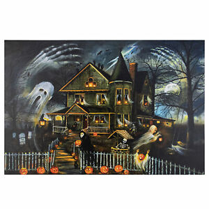Northlight-LED-Creepy-Haunted-House-Halloween-Canvas-Wall-Art-23-5-034-x-15-5-034