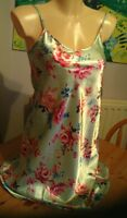 Green silky chemise size 8-10 with rose pattern knee length strappy top Bnwot