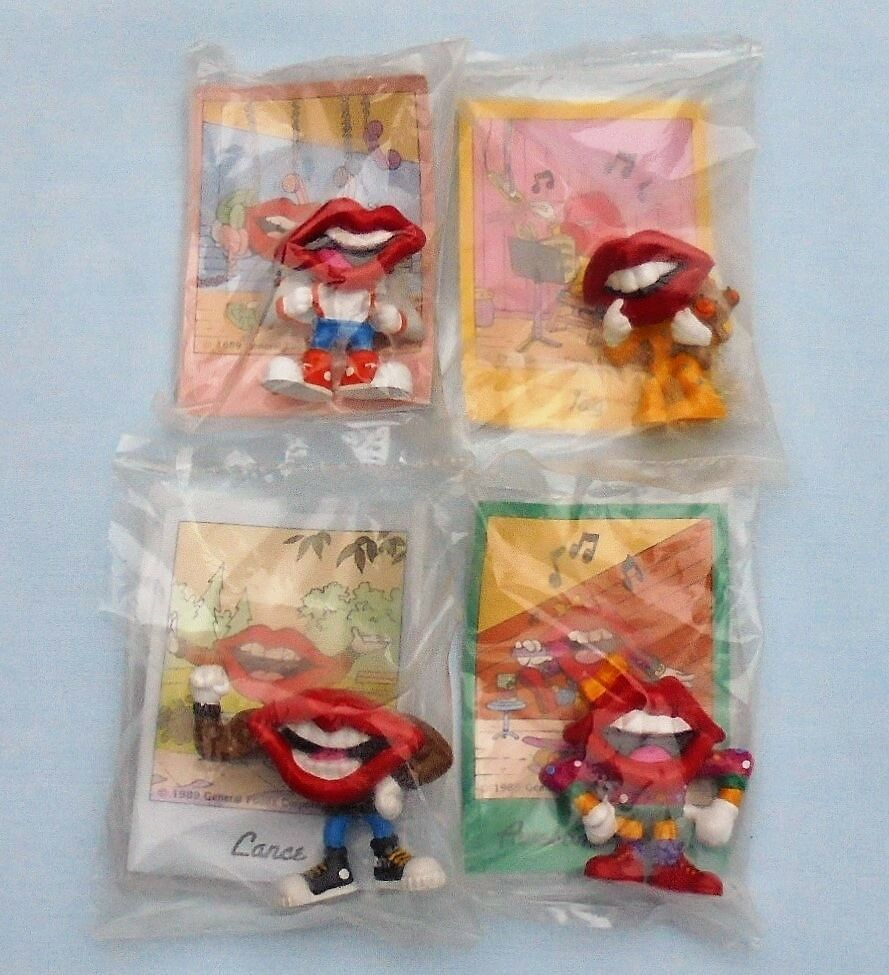 Tang Trio Drink Mouth Lips PVC Figure Trading Card Hardees Kids Toy Set 1989