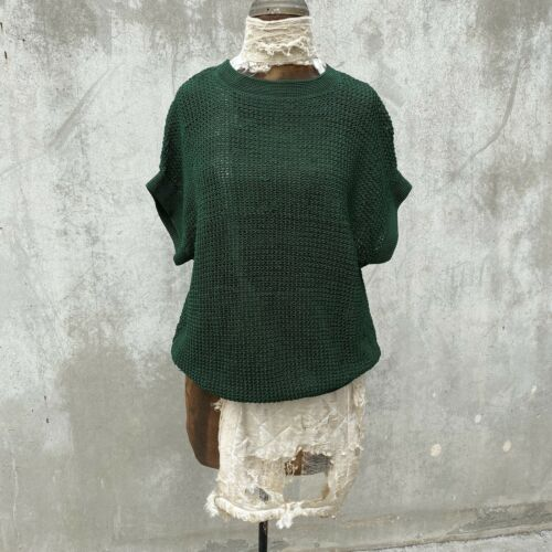 Antique 1930s Forest Green Cotton Knit Sweater Blo