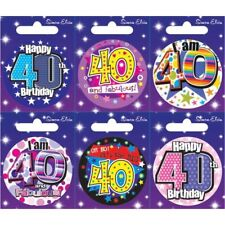 Let/'s Party I AM 60 TODAY Happy 60th Birthday Badge Men Ladies Pink Blue 55mm
