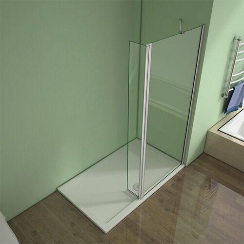 Aica 1950 Walk In Wet Room Shower Enclosure Screen Flipper Panel 8mm Glass WEM