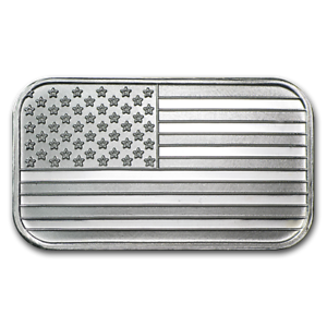 Ten 1oz .999 Pure Sterling Silver Bars w// American Flag