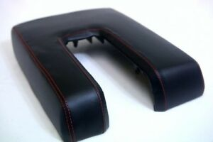 Console Armrest Leather Synthetic Cover for Toyota Tundra 14-19 Red Stitch