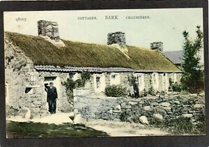 Channel Islands Isle of Sark, lovely island scene, cottages and islanders