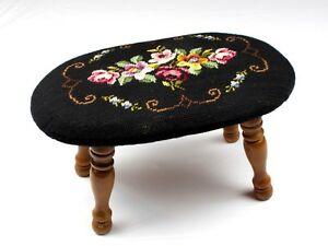 Vintage-Petit-Point-Foot-Stool-Cricket-Roses-Black-Turned-Oval-Flower-Embroidery