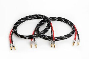 Canare 4S11 HI-FI Speaker Cable Pair, TechFlex Braided 2 to 2 Banana, 8 Ft