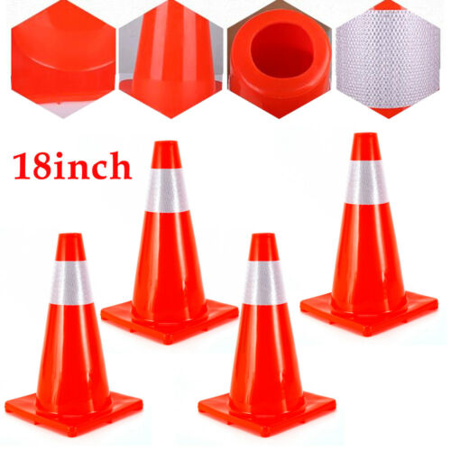 """28/"""" 36/'/' 18/'/' Traffic Cones Safety Cones Road Emergency Parking Reflective Strip"""