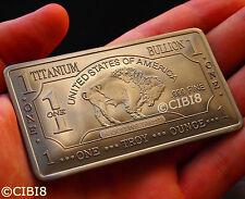 1 Oz Titanio Buffalo Bar.999 Pureza Fina Nuevos De Calidad Superior De Metal Duro Raro Edt.