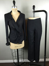 Donna Karan Sz 4 Black Label Mohair Crepe Tie Front Pants Suit