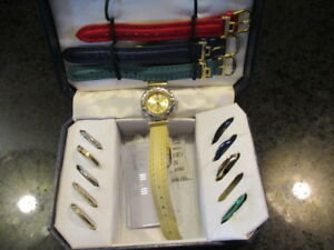 Vintage-Calvin-Hill-Interchangeable-Watch-Set-with-dials-and-pieces-AS-IS