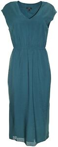 $160 New J.Crew perforated green drapey side-slit midi dress women's 10US