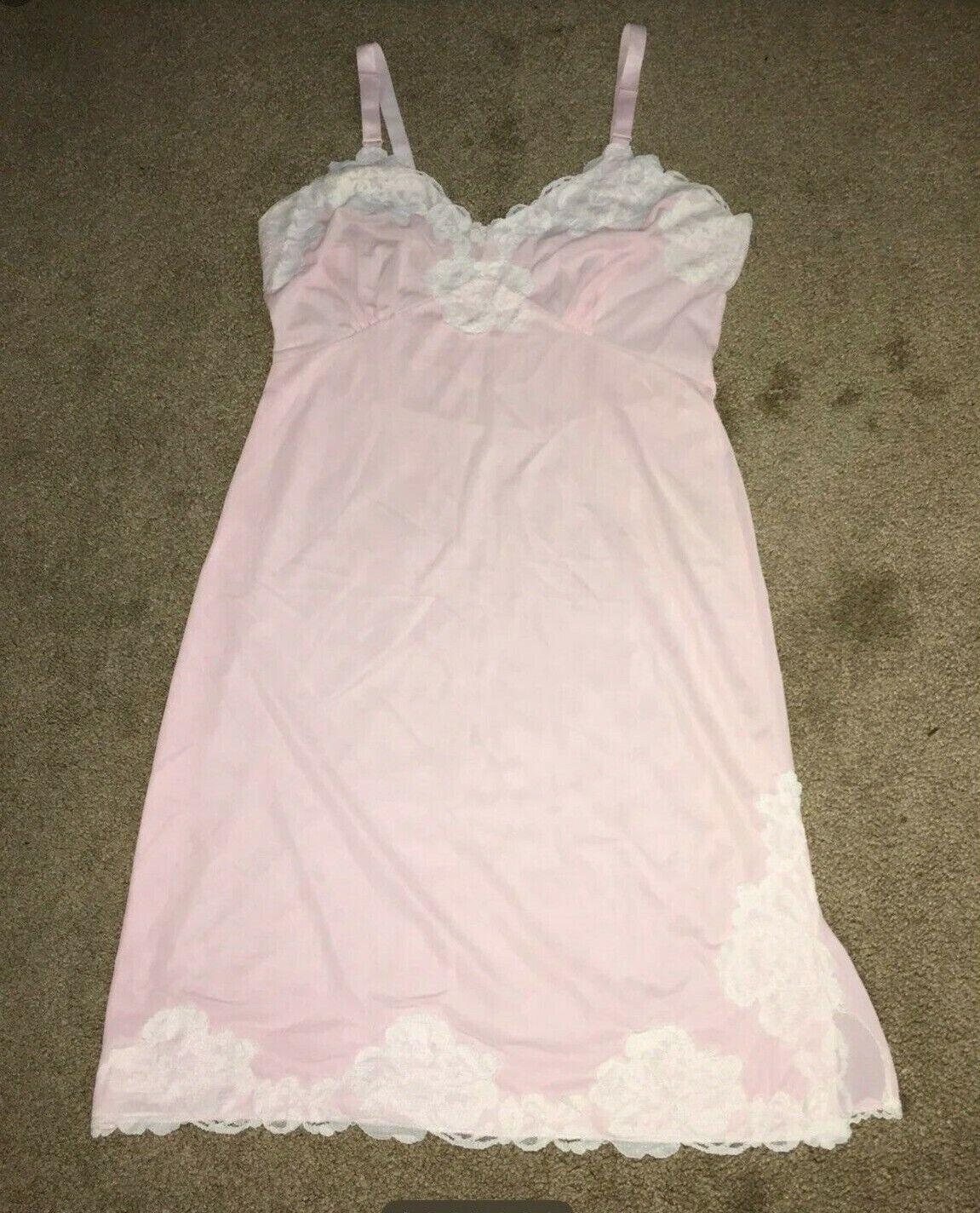 Vintage Bubblegum Pink nylon full slip M - image 1