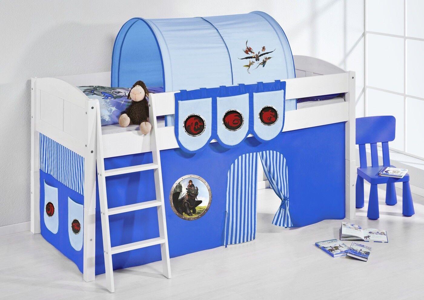 Spielbett Lit-LANDI-Dragon Bleu-divisible-Machoire Weis-avec rideau