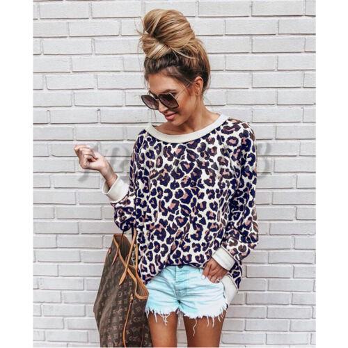 UK Women Off Shoulder Ladies Leopard print Top Sweatshirt Oversized Jumper Long