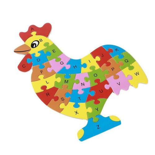 Kids Colorful Animal Puzzle Toy Toddler Educational Brick Adjustable Wooden DD